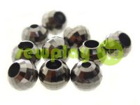 "Tip ""Disco"" plastiс black nickel 10 mm* 10 mm, cord d= 3 mm, 10 pcs"