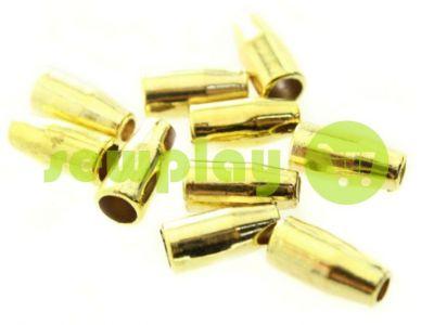 """Наконечник пластиковый """"Колокольчик малый"""" 13 мм* 6 мм золото, под шнур d=3 мм, 10 шт арт"""