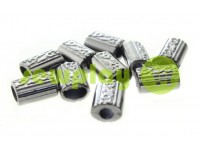 "Tip fluted ""Barrel"" plastiс black nickel, 11 mm* 14 mm, cord d= 5 mm, 10 pcs"