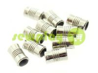 "Tip fluted ""Barrel"" plastiс nickel, 7 mm* 12 mm, cord d= 4 mm, 10 pcs"