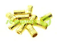 "Tip fluted ""Barrel"" plastiс gold, 7 mm* 12 mm, cord d= 4 mm, 10 pcs"