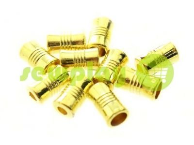 """Наконечник пластиковый """"Боченок"""" рифленый 7 мм*12 мм золото, под шнур d=4 мм, 10 шт арт 93"""