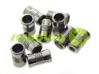 "Tip fluted ""Barrel"" plastiс black nickel, 7 mm* 12 mm, cord d= 4 mm, 10 pcs"