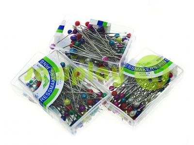 Set tailor pins with colored ears in box 80 pcs sku 975