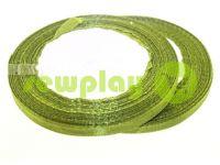 Стрічка атласна 7 мм, колір оливковий, довжина 25 м