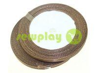 Satin Tape 7mm, color dark brown, length 25 m