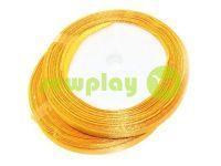 Стрічка атласна 7 мм, колір золото, довжина 25 м