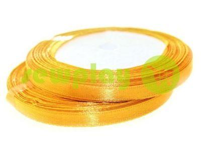 Лента атласная 7 мм, цвет золото, длина 25 м
