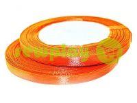 Лента атласная 7 мм, цвет оранжево-красный, длина 25 м