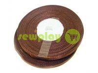 Стрічка атласна 7 мм, колір коричневий, довжина 33 м