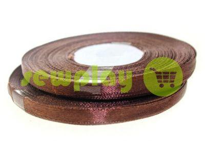 Лента атласная 7 мм, цвет коричневый, длина 33 м