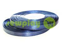 Стрічка атласна 7 мм, колір темно-синій, довжина 33 м