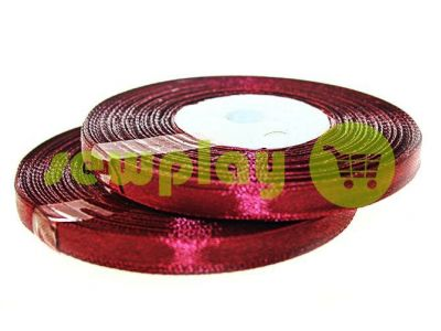 Лента атласная 7 мм, цвет бордовый, длина 33 м