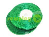 Стрічка атласна 7 мм, колір темно-зелений, довжина 33 м