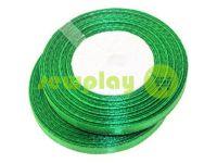 Стрічка атласна 7 мм, колір зелений, довжина 33 м