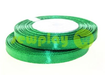 Лента атласная 7 мм, цвет зеленый, длина 33 м
