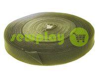Тесьма репсовая 20 мм, 23 мм, 25 мм, цвет оливковый