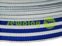Тесьма репсовая 30 мм, цвет бело-голубой