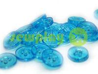 Пуговица пластиковая четырех-ударная, цвет прозрачный светло-голубой, упаковка 25 шт