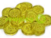 Пуговица пластиковая четырех-ударная, цвет прозрачный желтый, упаковка 25 шт
