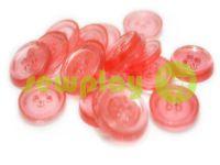 Пуговица пластиковая четырех-ударная, цвет прозрачный красный, упаковка 25 шт