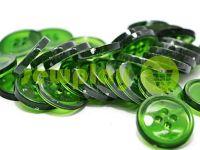 Пуговица пластиковая четырех-ударная, цвет прозрачный зеленый, упаковка 25 шт