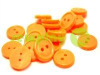 Пуговица пластиковая двух-ударная, цвет оранжевый, упаковка 25 шт