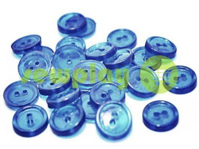 Пуговица пластиковая двух-ударная, цвет прозрачный голубой, упаковка 25 шт арт 2402