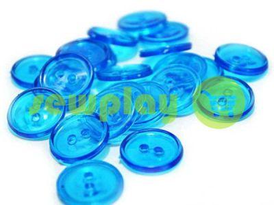 Пуговица пластиковая двух-ударная, цвет прозрачный светло-голубой, упаковка 25 шт арт 2403