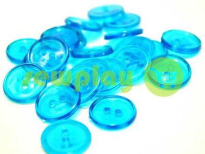 Пуговица пластиковая двух-ударная, цвет прозрачный светло-голубой, упаковка 25 шт арт 2405