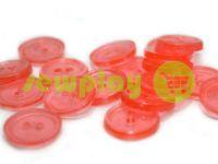 Пуговица пластиковая двух-ударная, цвет прозрачный розовый, упаковка 25 шт