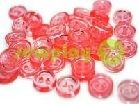 Button plastic two-shock, color transparent pink, packing 25 pcs