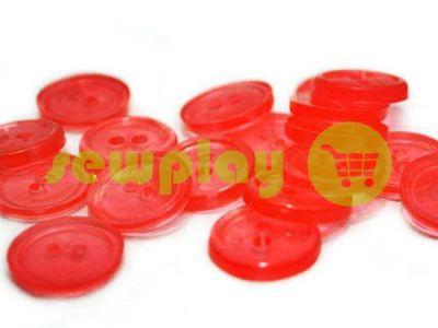 Пуговица пластиковая двух-ударная, цвет прозрачный красный, упаковка 25 шт арт 2416