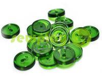 Пуговица пластиковая двух-ударная, цвет прозрачный зеленый, упаковка 25 шт