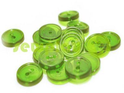 Пуговица пластиковая двух-ударная, цвет прозрачный светло-зеленый, упаковка 25 шт арт 2422