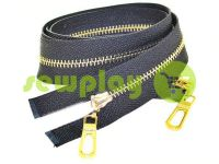 Zipper metal type 3 the split two sliders, color black, gold teeth