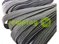 Elastic band textile black 10 mm standard, 10 m