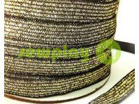 Резинка текстильная черная с золотым люрексом 10 мм плотная