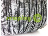 Резинка текстильная черная с серебряным люрексом 10 мм плотная