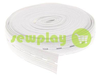 Резинка текстильная белая перфорированная 20 мм плотная, 30 м арт 1278