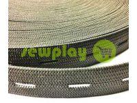 Резинка текстильная черная перфорированная 20 мм плотная, 30 м