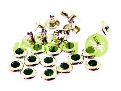 Хольнитен с зеленым камнем односторонний 7 мм никель, 100 шт арт 2709
