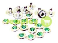 Holniten with stone lightgreen unilateral 7 mm nickel, 100 pcs
