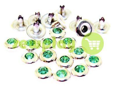 Хольнитен с светло-зеленым камнем односторонний 7 мм никель, 100 шт