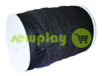 Elastic band textile black 10 mm standard, roll 100 m