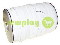 Elastic band textile white 10 mm standard, roll 100 m