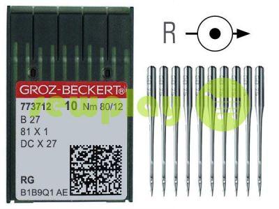 Иглы промышленные Groz-Beckert B27/81X1/DCX27/DCX1 RG 80/12 для оверлока универсальные