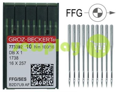 Needles industrial for knitwear with thin shank Groz-Beckert DBX1/1738/16X257 FFG 100/16