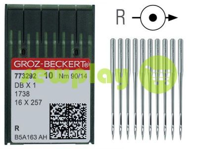 Needles industrial universal with thin shank Groz-Beckert DBX1/1738/16X257 R 90/14